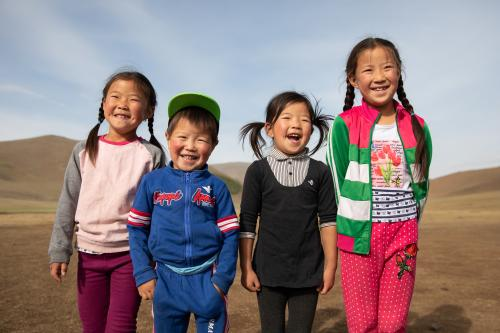 Children smile in Mongolia.